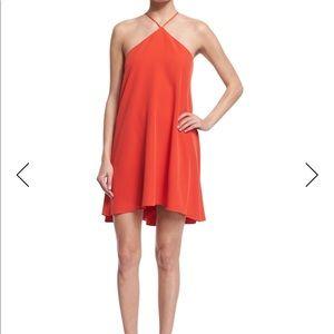 Milly Halter-Neck Cascade-Back Dress, Flame